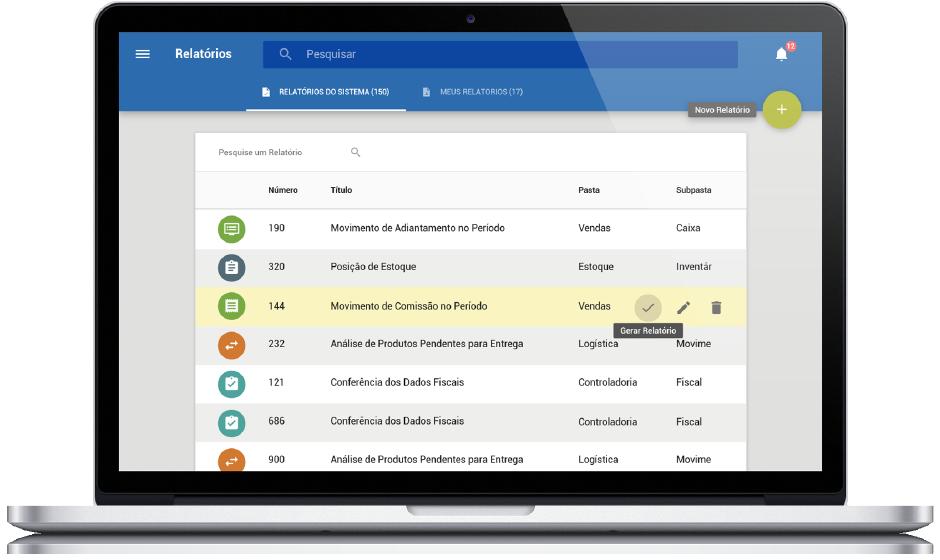 Mockup tela CISSReport - lista de relatórios do sistema