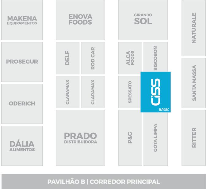 Localização do Estande da CISS na EXPOAGAS 2016 - Pavilhão B