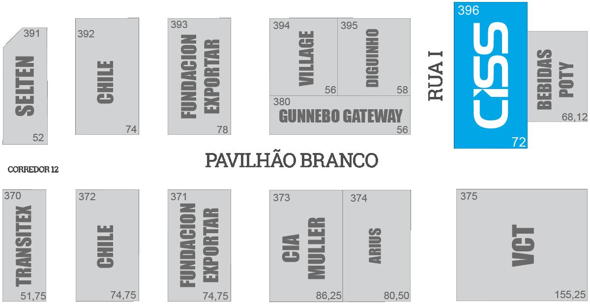 Localização do Estande da CISS na APAS 2016 - Pavilhão Branco - rua I - estande 396