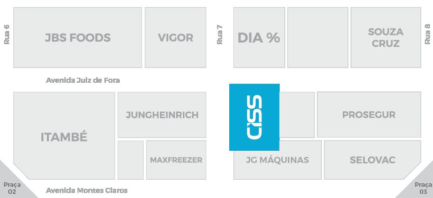 Localização do Estande da CISS na SuperMinas 2016 - Avenida Juiz de Fora com rua 7