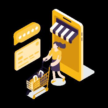 Aplicativo com carinho de compras