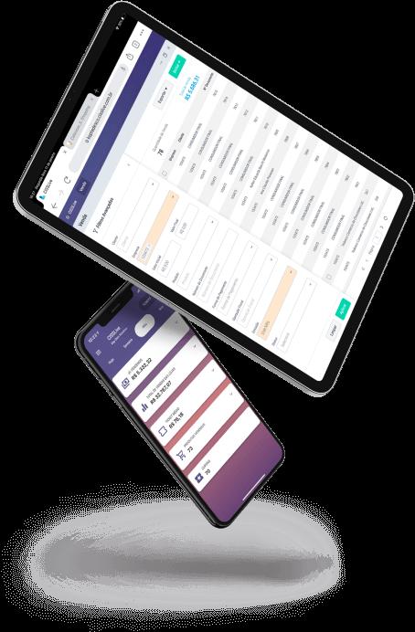 Tablet e celular com telas do sistema erp CISSLive