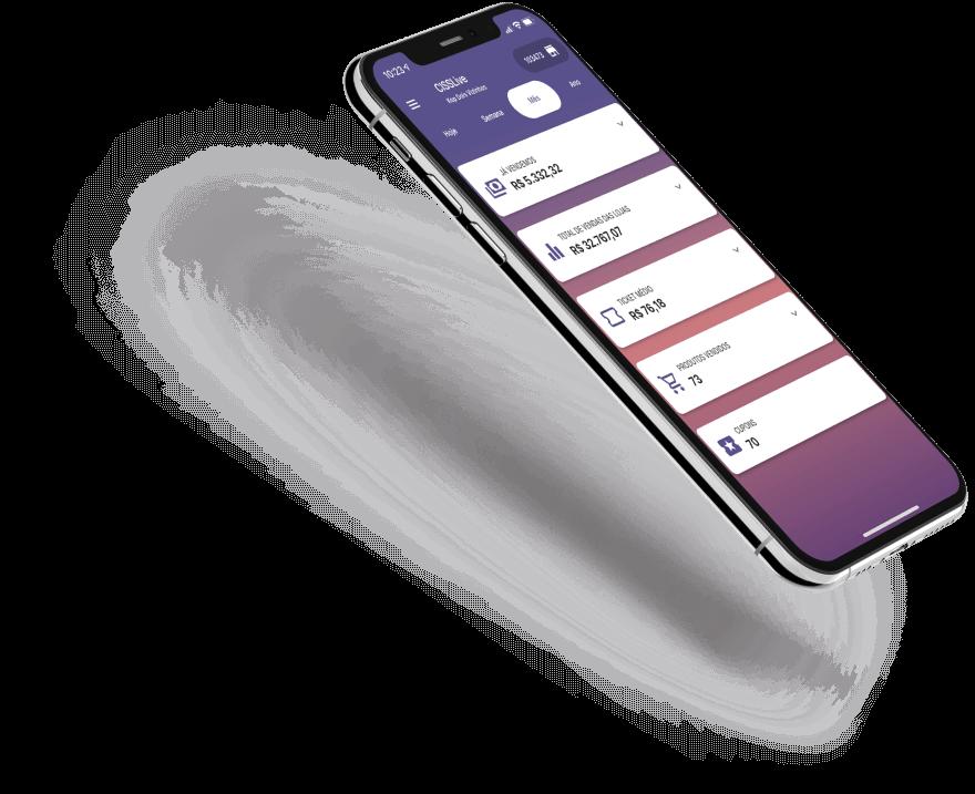 Smartphone com tela de gráficos do sistema erp CISSLive