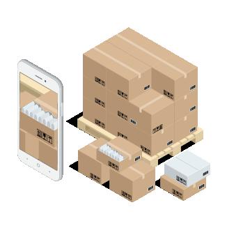 Aplicativo e um palete com caixa