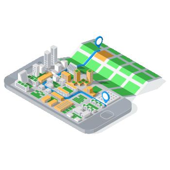Celular com mapa em 3D