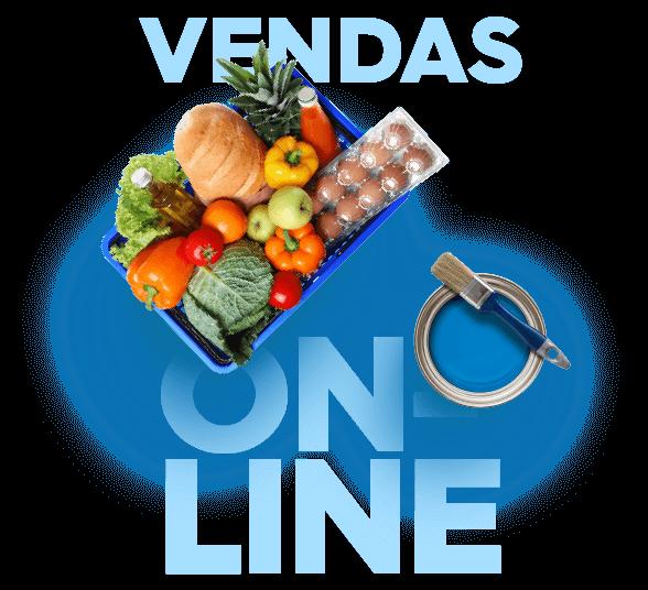 Venda online com cesta de alimentos com frutas, legumes e ovos e uma lata de tinta azul